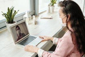 Employees on a video call